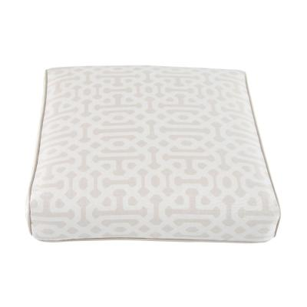 Camden Sunbrella Fretwork Flax Replacement Outdoor Ottoman Cushion