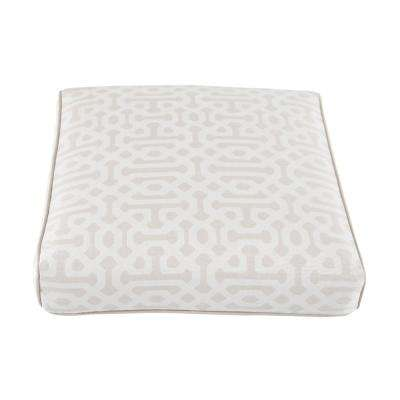 Camden Sunbrella Fretwork Flax Replacement Outdoor Ottoman Cushion