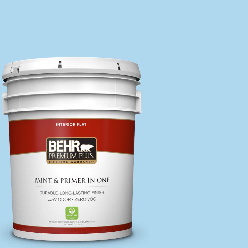 BEHR Premium Plus 5-gal. #540A-3 Blue Feather Zero VOC Flat Interior Paint