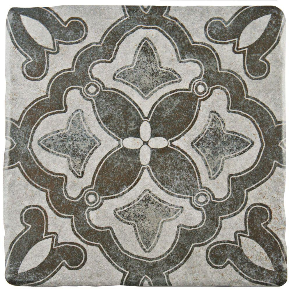 Merola Tile Costa Cendra Decor Clover Encaustic 7 34 In X 7 34 In