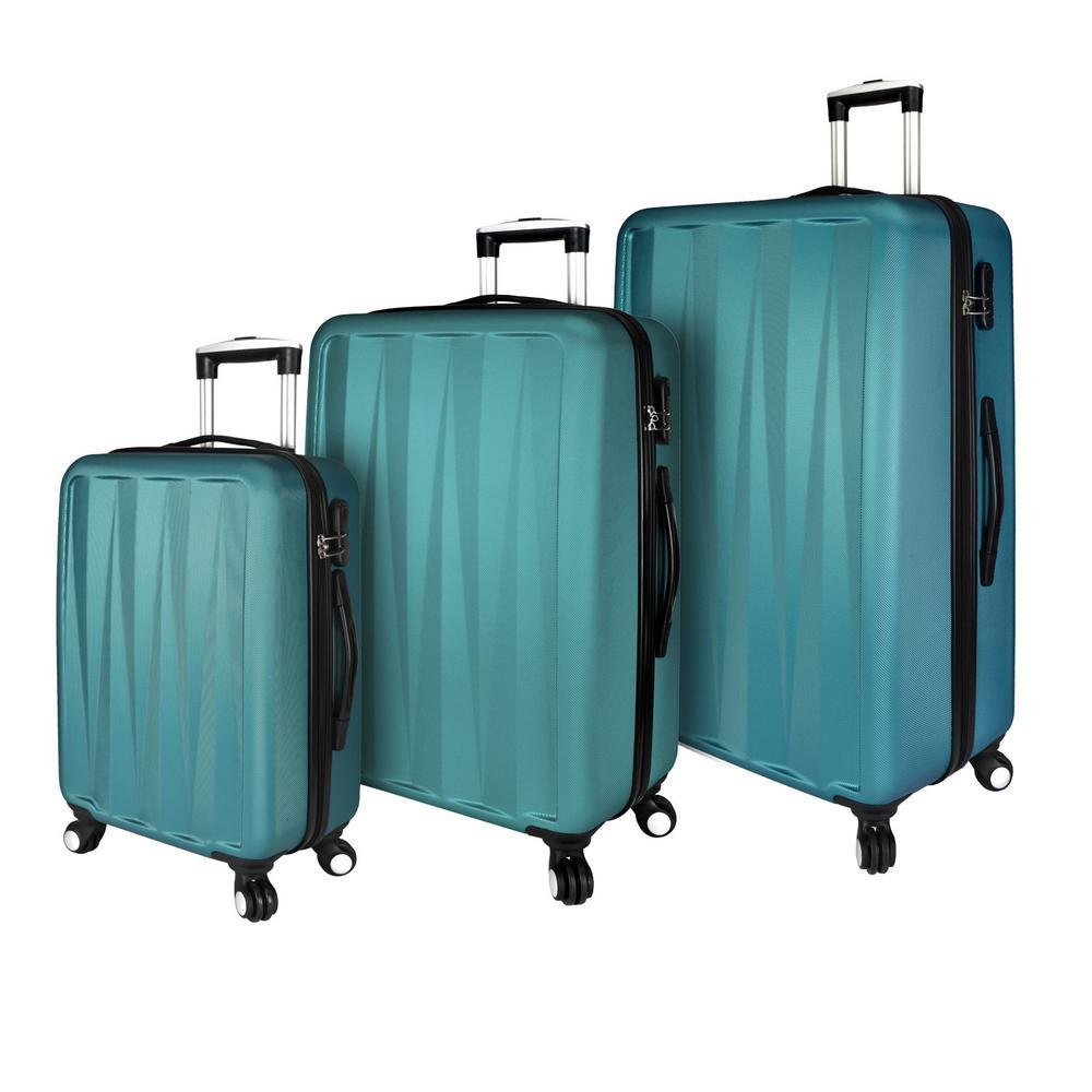 Hardside 3-Piece Spinner Luggage Set, Teal