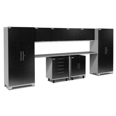 Performance Plus Diamond Plate 2.0 189 in. W x 83.25 in. H x 24 in. D Garage Cabinet Set in Black (10-Piece)