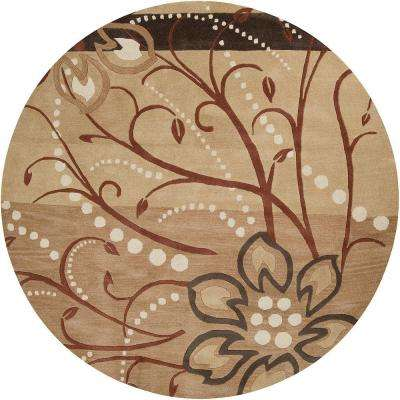 Fremont Tan 6 ft. x 6 ft. Round Area Rug