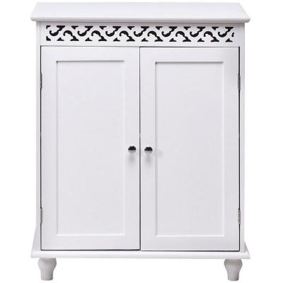 24 in. White Wood Storage Cabinet with Doors and Shelves