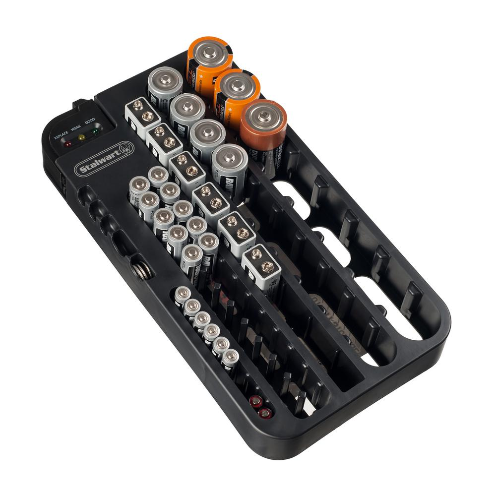 Stalwart Battery Organizer Caddy with Tester-M220011 - The Home Depot