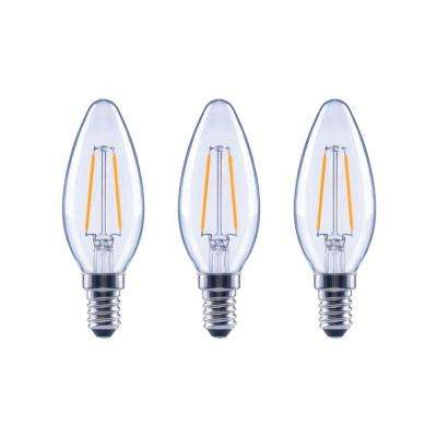 25-Watt Equivalent B11 Candle Dimmable Energy Star Clear Glass Filament Vintage LED Light Bulb Soft White (3-Pack)