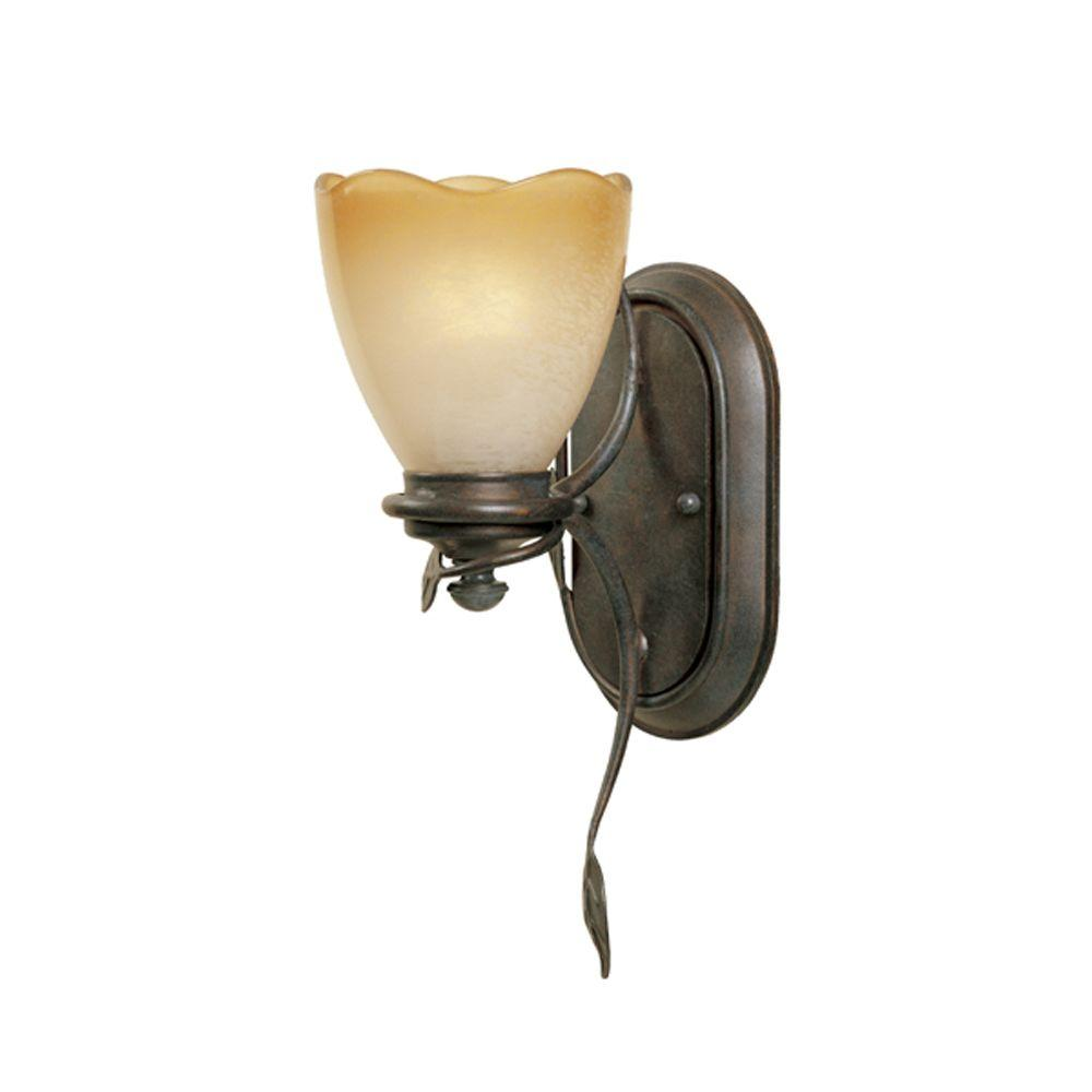 Belle Rose Collection 1-Light Old Bronze Wall Mount Sconce