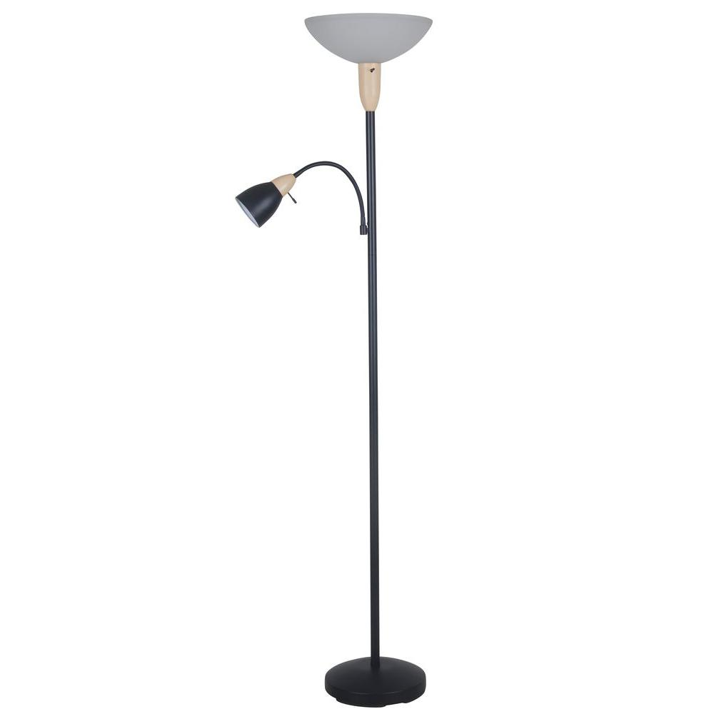 71 in. Black Floor Lamp with Frosted Glass Shade