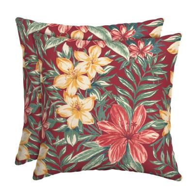 16 x 16 Ruby Clarissa Tropical Square Outdoor Throw Pillow (2-Pack)