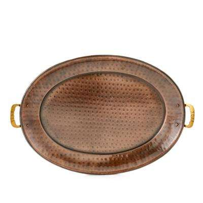 15 in. x 11 in. Antique Copper Oval Tray with Brass Handles