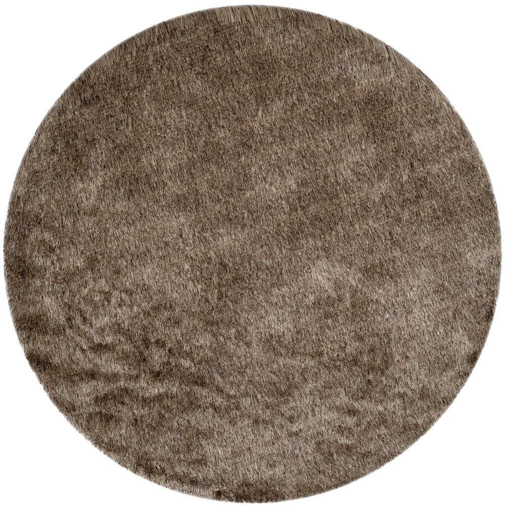 Safavieh Paris Shag Sable 9 ft. x 9 ft. Round Area Rug