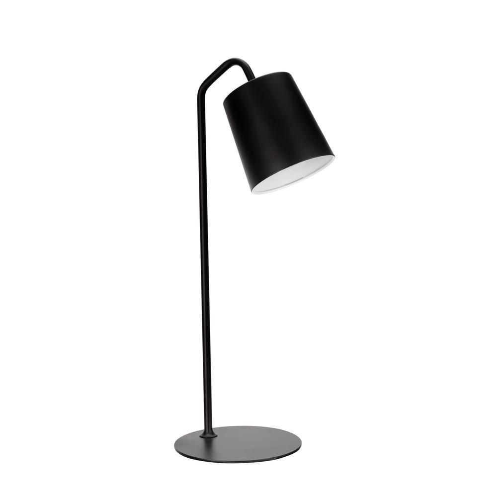 23 in. Matte Black Desk Lamp with Metal Lamp Shade