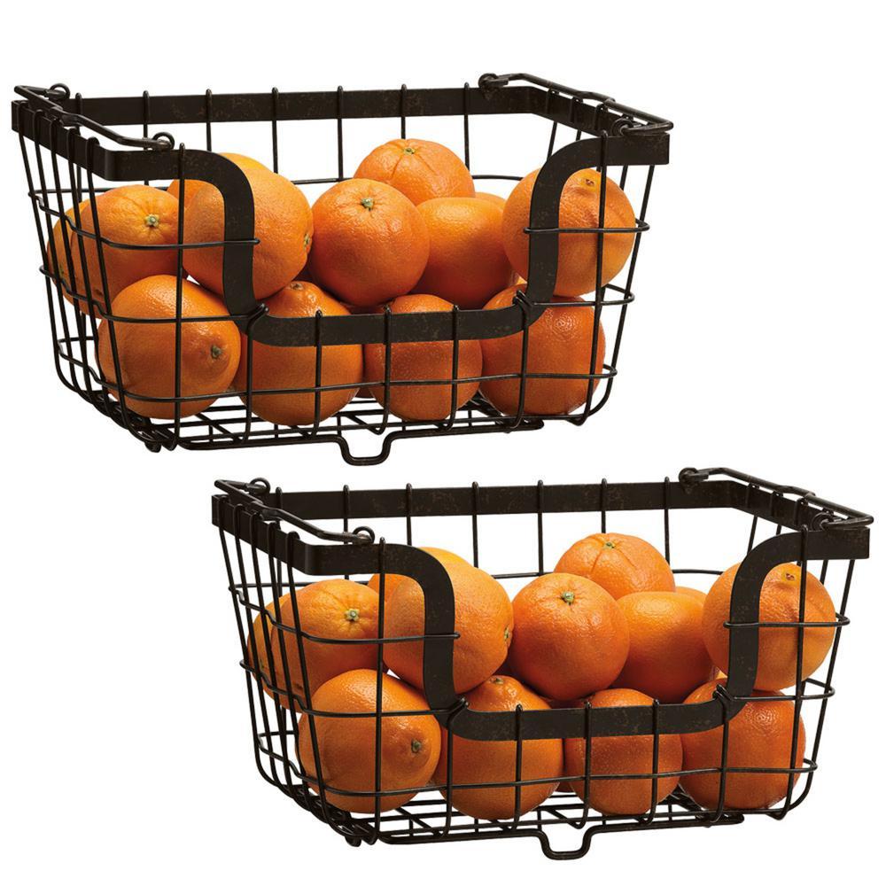 Gourmet Basics by Mikasa Carbon Steel Wire Storage Basket (Set of 2)