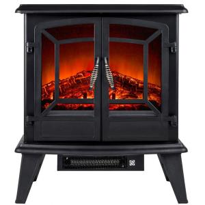 Click here to buy AKDY 20 inch Freestanding Electric Fireplace Stove Heater in Black with Vintage Glass Door... by AKDY.