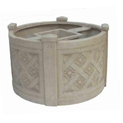 18 in. Dia x 12 in. H Aged White Stone Mailbox Barrel