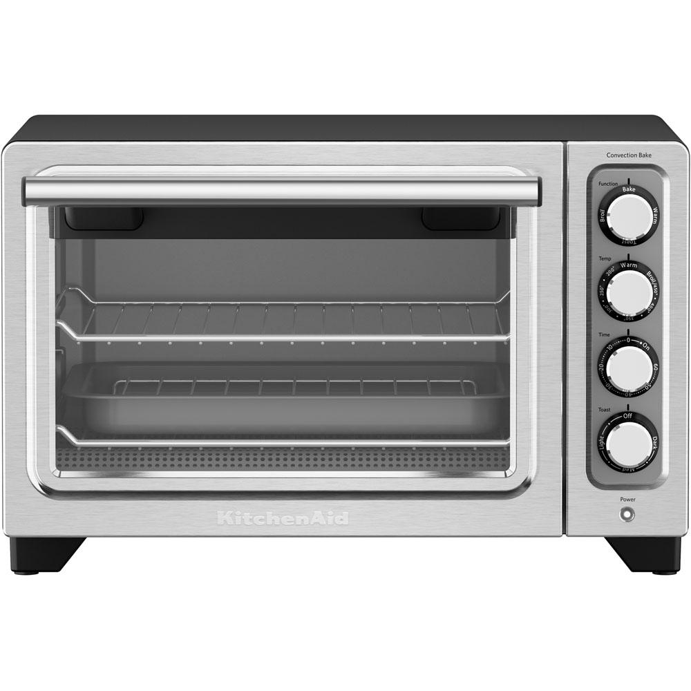 Compact Black Nonstick Interior Countertop Toaster Oven