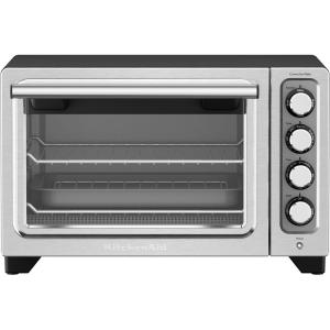Kitchenaid compact black nonstick interior countertop toaster oven kco253bm the home depot for Toaster oven stainless steel interior