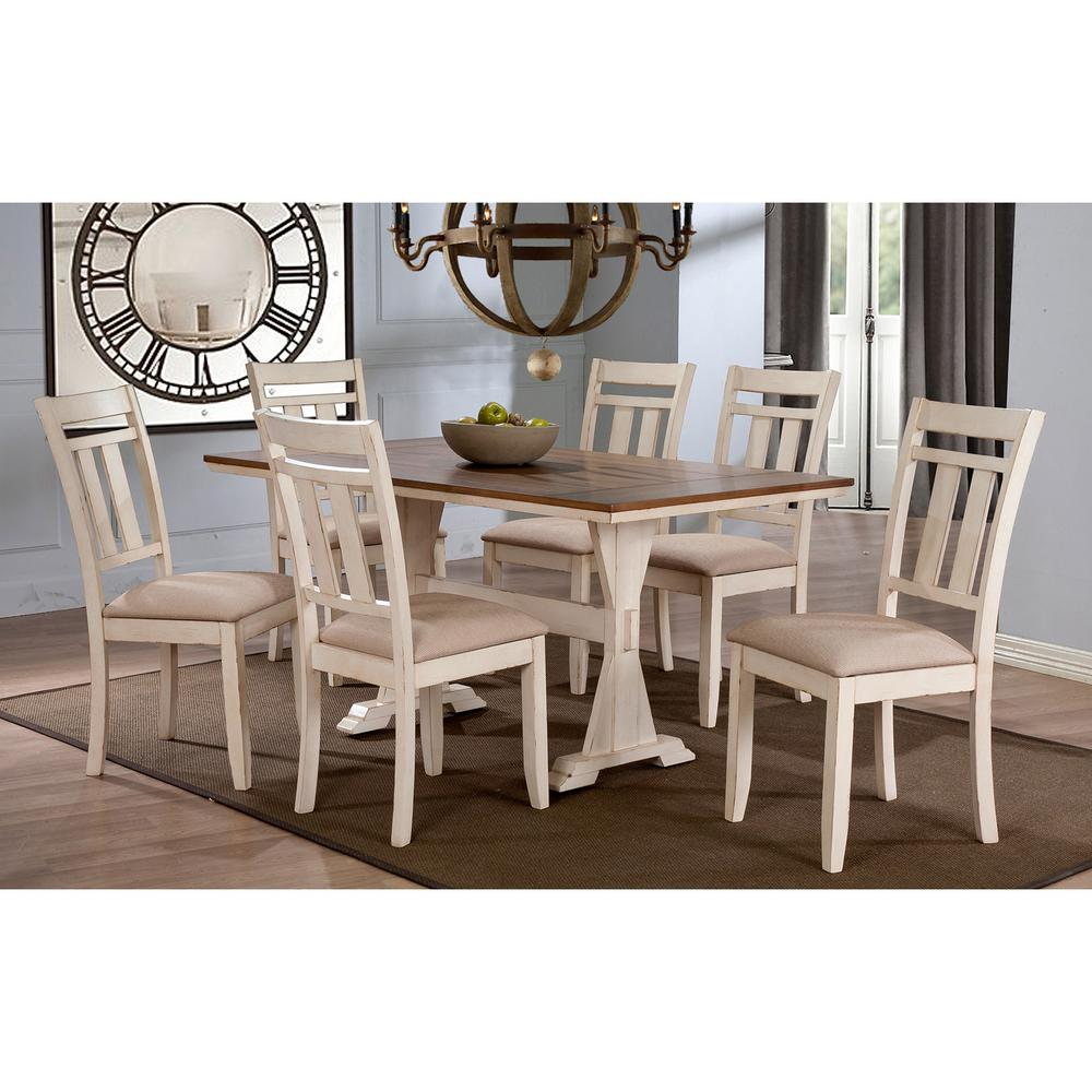 Roseberry 7-Piece Beige Fabric and Distressed Wood Dining Set