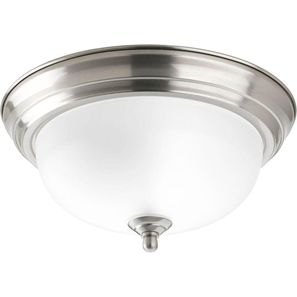 Progress Lighting 1 Light Brushed Nickel Flushmount With Etched Glass P3924 09ET