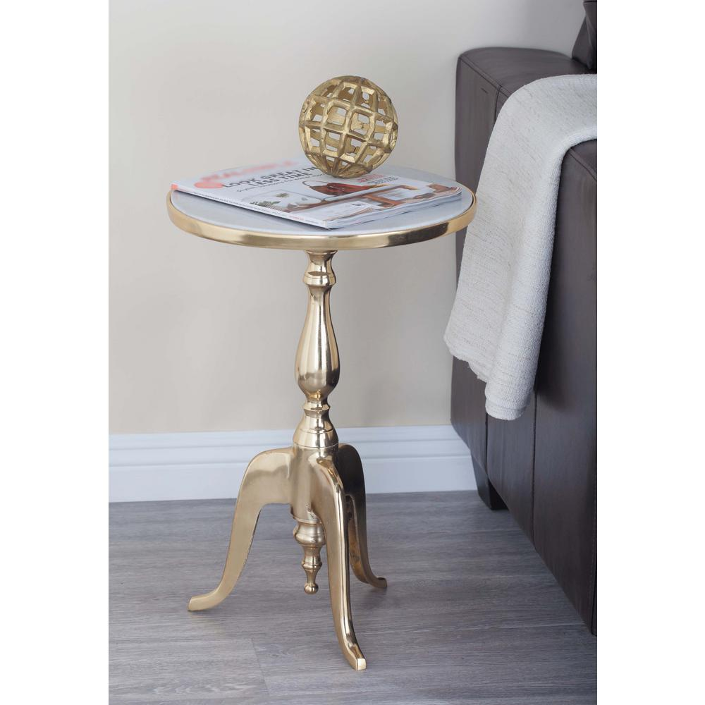 White Marble And Metal Round Accent Table: Classic Round White Marble Accent Table-68998