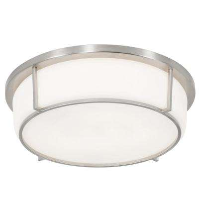 Smart 85-Watt Satin Nickel with Opal Glass Integrated LED Flushmount