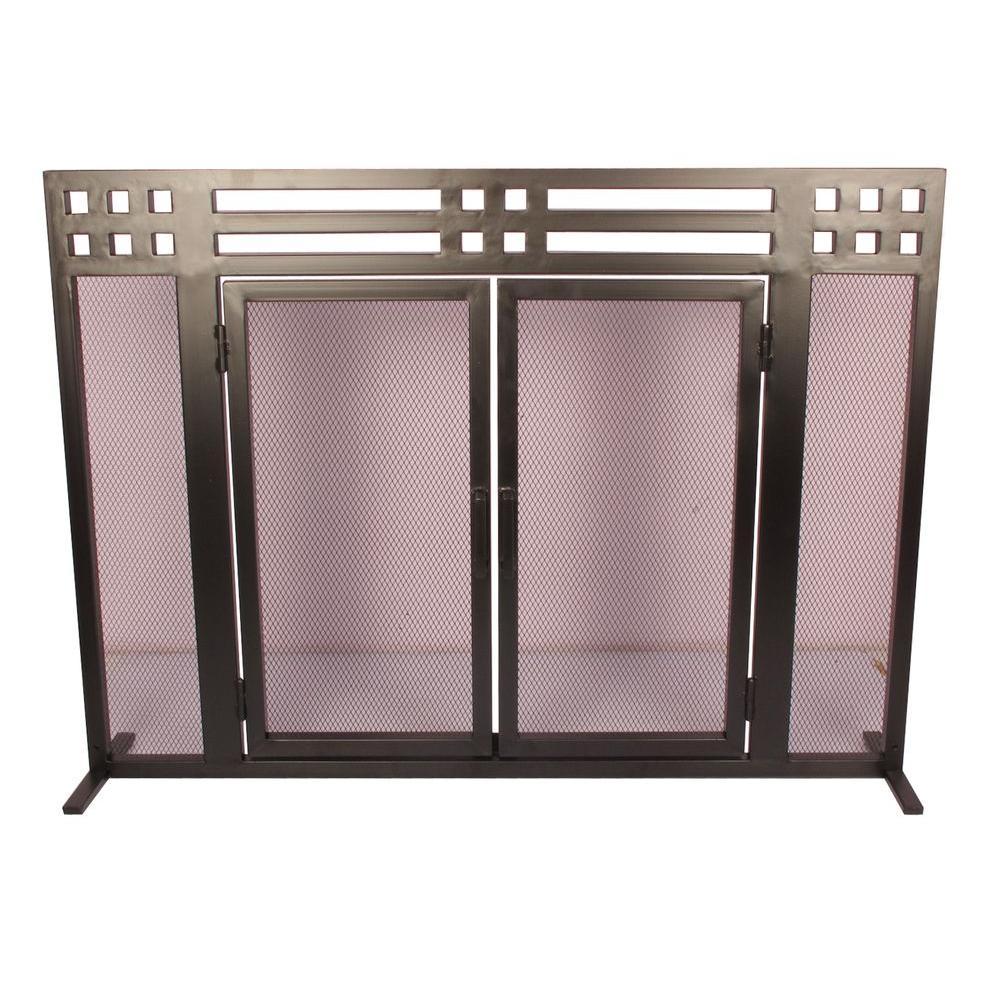 Layton Black Single-Panel Fireplace Screen