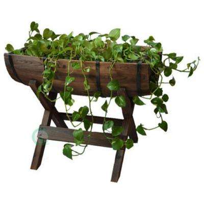 20 in. W x 13.5 in. D x 14.5 in. H Wood Half Barrel Planter with Stand
