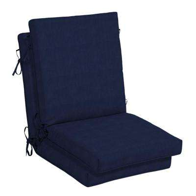 CushionGuard Midnight Outdoor High Back Dining Chair Cushion (2-Pack)
