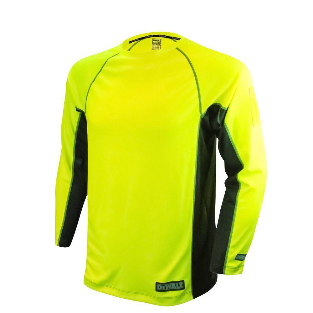 Men's Medium High Visibility Green 2-Tone Non-Rated Long Sleeve Performance T-Shirt