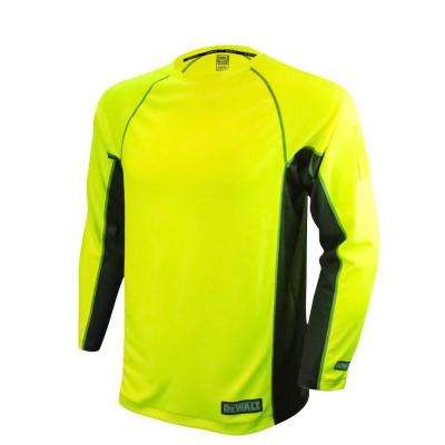 Men's 5X-Large High Visibility Green 2-Tone Non-Rated Long Sleeve Performance T-Shirt