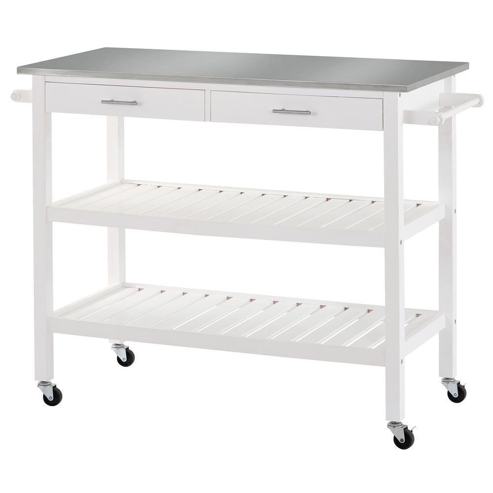 Sandusky 47 in. W 2-Shelf Wood Utility Cart with Stainless Steel Top