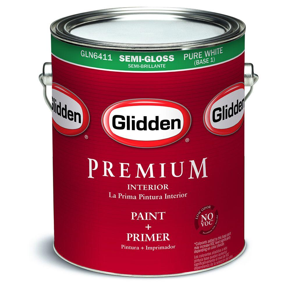 Glidden Premium 1 Gal. Pure White Semi Gloss Interior Paint