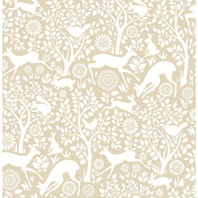 Meadow Taupe Animals Wallpaper