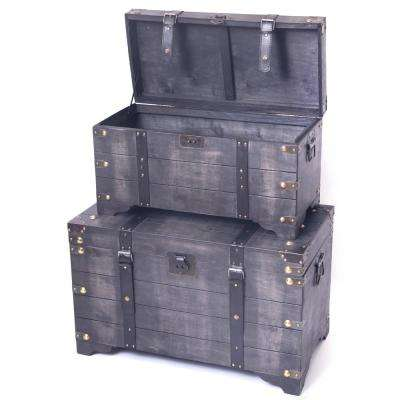Distressed Black Large Wooden Storage Trunk Coffee Table (Set of 2)