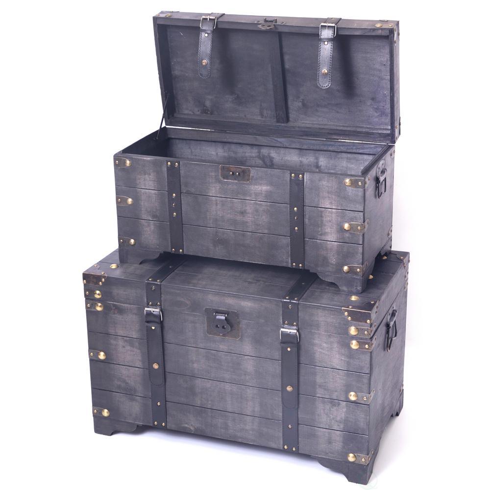 distressed black large wooden storage trunk - Storage Chest Trunk