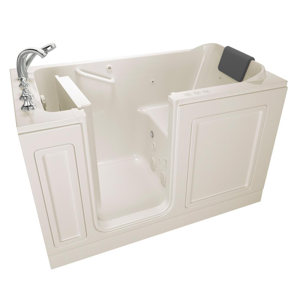 American Standard Acrylic Luxury 60 in. Left Hand Walk-In Whirlpool and Air Bathtub in Linen