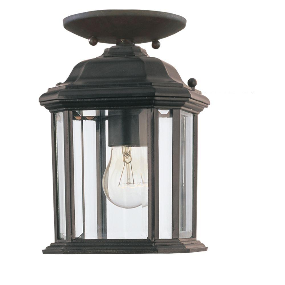 Porch Light Pendant: Sea Gull Lighting Kent 1-Light Outdoor Black Pendant