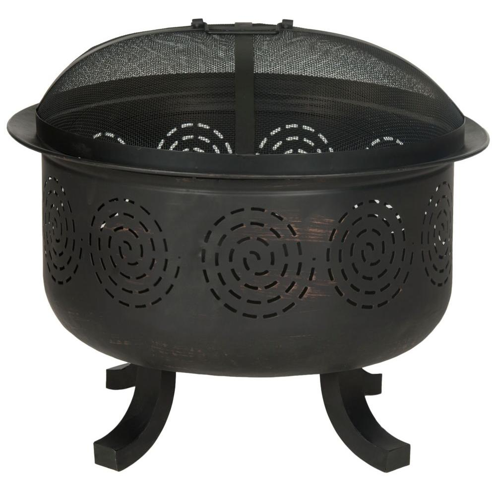 Safavieh Negril 28 in. Iron Fire Pit in Copper and Black