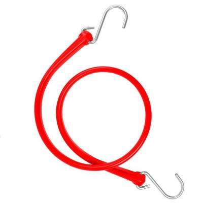 31 in. Polyurethane Bungee Strap with Stainless Steel S-Hooks (Overall Length: 36 in.) in Red