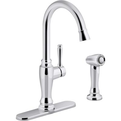 Arsdale Single-Handle Standard Kitchen Faucet with Swing Spout and Sidespray in Polished Chrome