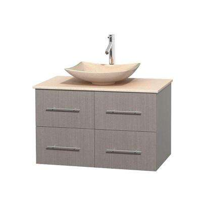 Centra 36 in. Vanity in Gray Oak with Marble Vanity Top in Ivory and Sink