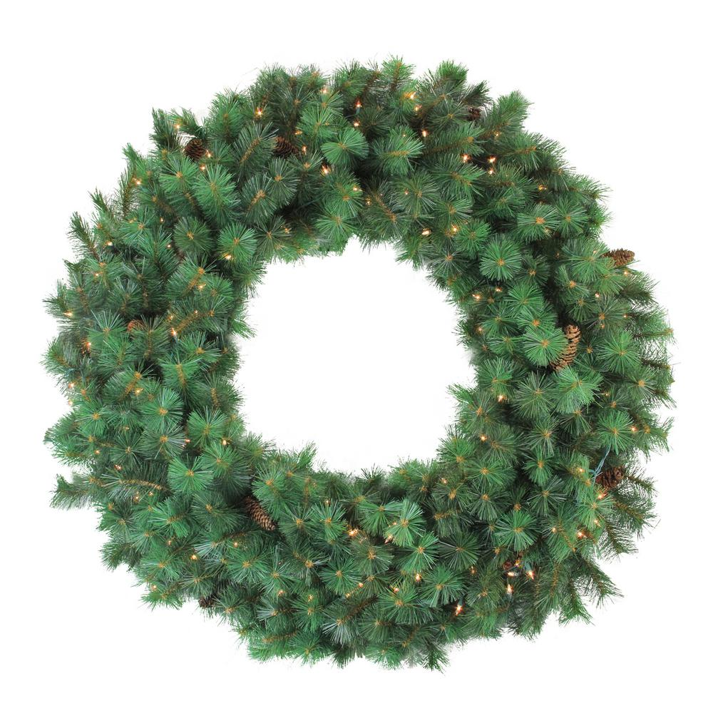 48 In Pre Lit Royal Oregon Pine Artificial Christmas Wreath With Clear Lights