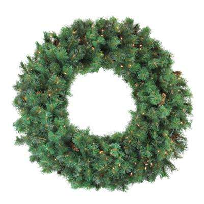 48 in. Pre-Lit Royal Oregon Pine Artificial Christmas Wreath with Clear Lights