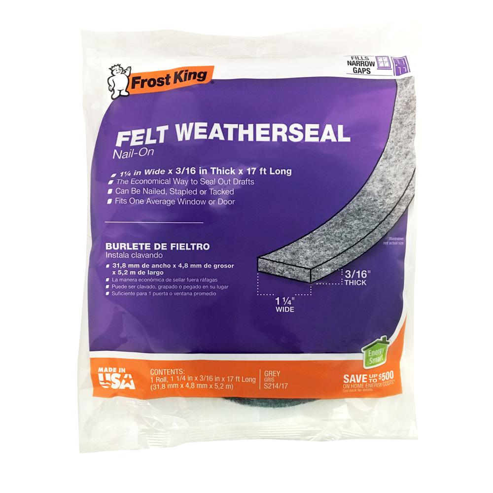 25 Ft Long Roll Adhesive Backed Gray Felt Weather Stripping 3//16 Thick and 1//2 Wide