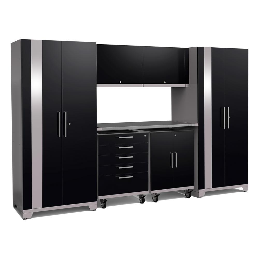 Performance Plus 2.0 85.25 in. H x 133 in. W x 24 in. D 18-Gauge Welded Steel Garage Cabinet Set in Black (8-Piece)
