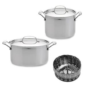 BergHOFF Jumbo 5-Piece Stainless Steel Stockpot Set with Steamer by