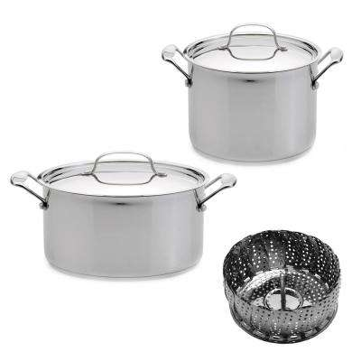 Jumbo 5-Piece Stainless Steel Stockpot Set with Steamer