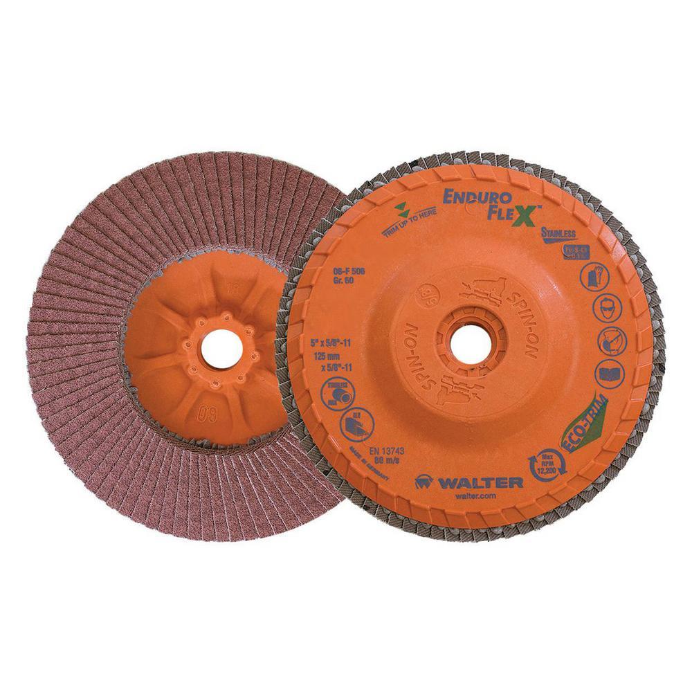 ENDURO-FLEX Stainless 5 in. x 5/8-11 in. Arbor GR60, Blending Flap Disc (10-Pack)