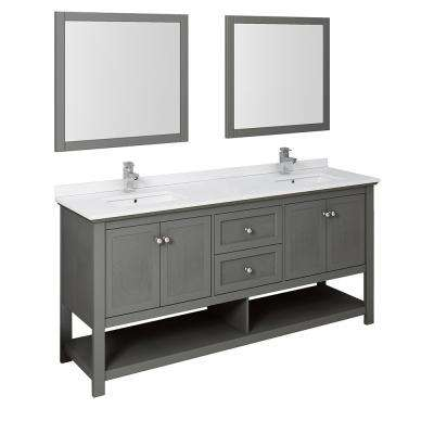 Manchester Regal 72 in. W Double Vanity in Gray Wood with Quartz Stone Vanity Top in White with White Basins, Mirrors