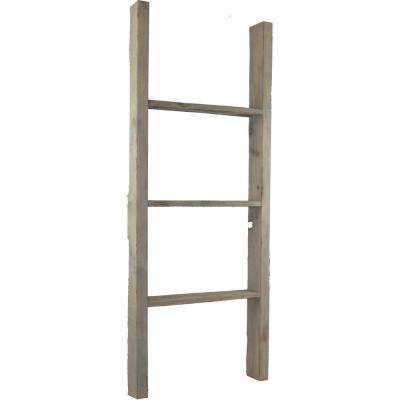 15 in. x 36 in. x 3 1/2 in. Barnwood Decor Collection Pebble Grey Vintage Farmhouse 2-Rung Ladder